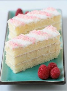 Coconut cake with cream cheese frosting.  The little candy cane strips make it a cute choice for christmas.