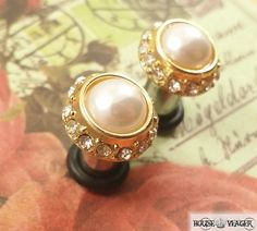 Dainty Crystal and Pearl Gold Plugs by HouseYeager