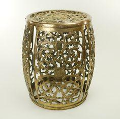 Vintage Pierced Brass Garden Drum Stool / Side Table. $250.00, via Etsy.