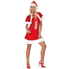 Kerstvrouw jurkje luxe. Dit kerstvrouw jurkje bestaat uit een kerst muts, het kerst jurkje en een korte cape. Kerst kostuums bij Fun en Feest #kerstjurkjes