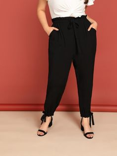 a2e5d9d1e26  ad Plus Slant Print Drawstring Waist Frilled Pants. Price   17.00. Black  Casual