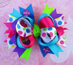 Cute girls over the top boutique polka dot hair bow pink purple headband toddler sparkles colorful fun summer