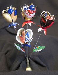 re-purposed soda cans.  These are so cool, but I know me, and I would wind up cutting myself...  ha ha, But true