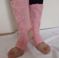 Soft Pink Cable Knit Yoga Socks, Knitted Dance Socks, Toeless Socks, House Slipers, Hand Knit Socks, Pilates Socks, Leg Warmers by loveisallweknit on Etsy