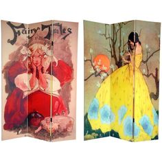 This versatile room divider lets you enchant your domicile with captivating works of children's storybook art from the late 19th and early 20th centuries. Handmade of high-quality wood, this screen will add an elegant touch to any room.