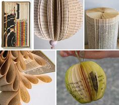 book sculpture {all I know is that the top right one is made by folding pages of a book in half..the rest are for sale}