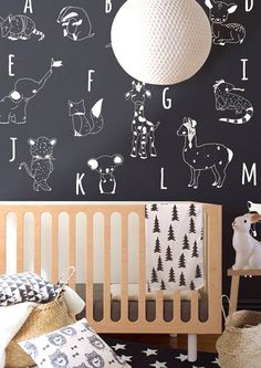 Black and white baby nursery room - with inspiration on adding accent colours. Get some inspiration from this roundup of nursery decor images. Baby Bedroom, Nursery Room, Kids Bedroom, Nursery Decor, Nursery Wall Murals, Deer Nursery, Themed Nursery, Woodland Nursery, Nursery Ideas