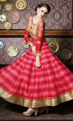Pink and Red Hued Party wear Anarkali Suit