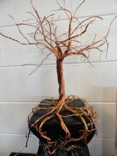 Copper Wire Tree on Pedestal by ForegoneConclusions on Etsy, $85.00