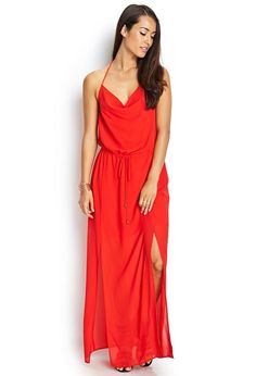 Love 21 - A chiffon maxi dress featuring a self-tie neckline and drawstring waist. . Fully lined. W...