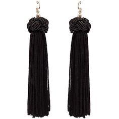 BLACK KNOT TASSEL DANGLE EARRINGS (€11) ❤ liked on Polyvore featuring jewelry, earrings, long earrings, tassel earrings, long tassel earrings, fringe tassel earrings and knot earrings