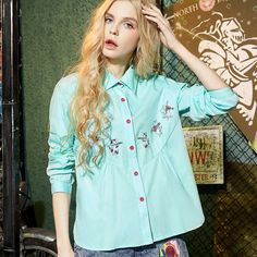 comfortable fabric sleeves embroidery shirt