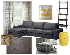 Gray & yellow living room.  I like the couch.  Looking for stuff for a yellow and gray living room