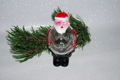 Antique 1947 J H Millstein Glass Santa Candy Container