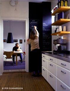 This is a chalkboard wall. Matthew and I MUST HAVE at least one wall that is dry erase paint and one that is magnetic paint.