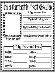Fern's Freebie Friday ~ All About Me Printables