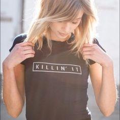 ✨killin it tshirt Killin It tee in black. Size small. Tops Tees - Short Sleeve