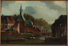 1855-Schilderij, gezicht op de Lekpoort te Culemborg met brug, door J.C. van Ginkel