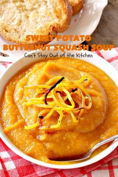 Sweet Potato Butternut Squash Soup   Can't Stay Out of the Kitchen   this delectable 30-minute #soup is amazing comfort food. It's terrific for cold, winter days. It's healthy, #glutenfree & #vegan. #apples #butternutsquash #sweetpotatoes