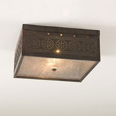 CEILING LIGHT Square Pierced & Seedy Glass with Blackened Tin Finish & Chisel Pattern Handcrafted in USA