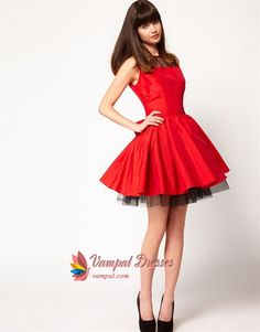 Red And Black Short Homecoming Dresses, Red Dresses For Holiday Party