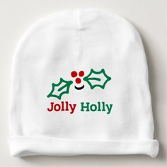 Smiling Jolly Holly Berries and Leaves Baby Beanie - Xmas ChristmasEve Christmas Eve Christmas merry xmas family kids gifts holidays Santa