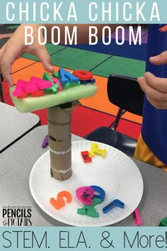 Chicka Chicka Boom Boom is the best book to use with preschool, kindergarten, and first grade students to celebrate letters! I'm sharing the STEM activities that keep my students engaged while working on their names, recognizing the alphabet, fun crafts, comprehension skills, and more! #chickachickaboomboom #backtoschool #kindergarten #preschool #alphabet