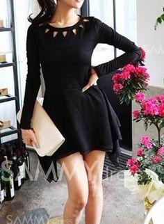 $7.94 Stylish Round Collar Hollow Out Irregular Hem Long Sleeves Black Dress For Women