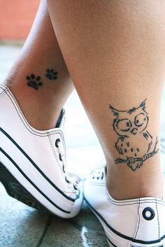 Simple+Owl+Tattoo+on+Back+of+Leg
