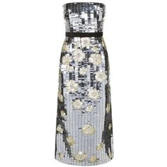 Burberry Runway Sequin Floral Bandeau Dress ($6,190) ❤ liked on Polyvore featuring dresses, slip dress, sequin cocktail dresses, party dresses, silver cocktail dress and silver dress