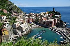 Vernazza of the Cinque Terre region in Italy. Best fresh squid, 70s decor, and midnight soccer championships.