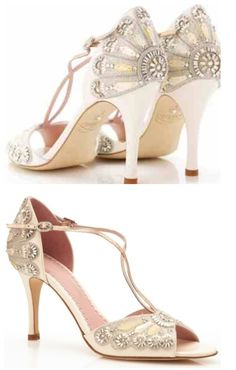 So beautiful! And so expensive : (  Francesca | Emmy Bridal shoes  Vintage Art Deco T Bar Style