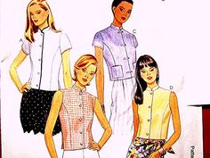 Butterick Blouse Pattern Misses size 8 10 12 UNCUT 4 style Blouse with Mandarin Collar by PatternsFromThePast