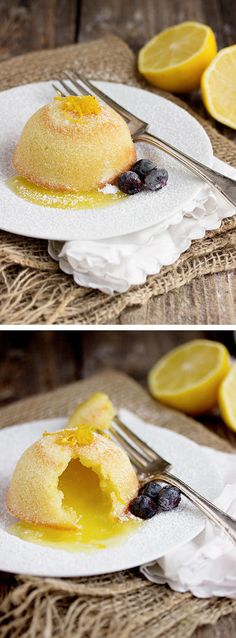 Little Lemon Lava Cakes - warm lemon curds spills from a light cake | www.seasonsandsuppers.ca | #lemon #dessert #Easter