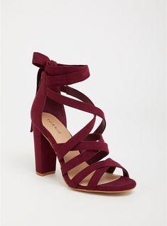 Wine Strappy Lace-Up Heel Sandal (Wide Width) Cute Casual Shoes, Fancy Shoes, Cute Shoes, Pretty Shoes, Lace Up Heels, High Heels, Shoes Heels, Bling Heels, Aldo Heels