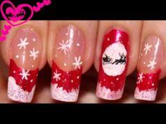 Christmas.Santa Silhouette.Nail art design. Home Made Decals.
