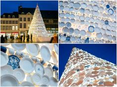 """This year in Hasselt, Belgium a pair from the design firm Mooz created this concept of an enormous tree covered in pieces of ceramic donated from residents. Called the """"Taste Tree"""" the piece was meant to be a sort… Recycled Christmas Decorations, Diy Recycle, Reuse, Build Something, Recycled Glass, Design Firms, Woodworking Plans, Diy Projects, Recycling Projects"""