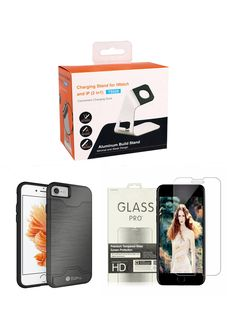 BAKU- 3 in 1 Bundle: Apple Watch Stand & iPhone 7 Case & iPhone 7 6s 6 HD Tempered Glass Screen Protector (Grey). Apple Products Accessories Bundle!. iPhone 7 Slim Fit Dual Layer Protective Hybrid Cover with Card Slot Holder and Kickstand. Apple Watch Series 2 Aluminum TPU Charging Stand and Cellphone Stand. iPhone 7 6S 6 HD Tempered Glass Screen Protector.