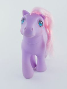 Vintage Hasbro My Little Pony Satin 'n Lace Earth Pony Lavender pony with pink…