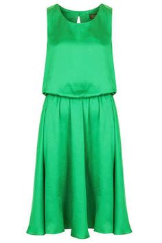 Emerald Blouson Midi Dress