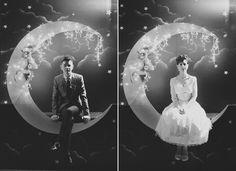 Modern wedding photo on a paper moon. The Boyd-Baker wedding, as photographed by Stewart Leishman. Circus Wedding, 1920s Wedding, Art Deco Wedding, Diy Wedding, Wedding Photos, Dream Wedding, Wedding Things, Wedding Ideas, Sunrise Wedding