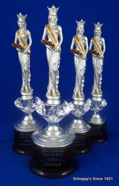 Pageant Trophies with customizable pageant sash on a diamond riser!