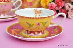 Antoinette Pink and Yellow Floral New Bone China Teacup and Saucer
