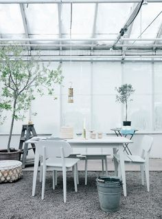 With Summer around the corner, all we crave right now is shopping for outdoor furniture, planting flowers and trees, and enjoying some al fresco dining! Outdoor Rooms, Outdoor Living, Outdoor Stuff, Outdoor Areas, World Of Interiors, Interior Stylist, Glass House, Garden Furniture, White Furniture