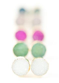 Gorgeous small gold druzy stud earrings. https://www.etsy.com/listing/172542441 www.kealohajewelry.com