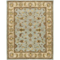 Safavieh Handmade Heritage Timeless Traditional Light Blue/ Beige Wool Rug (6' x 9') , Size 6' x 9'