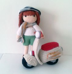 Crochet Sweet Doll with crochet scooter, size 20 cm tall, crochet gift,handmade amigurumi/ nice to be handmade gift.  Shipping :  All items are sent to you by Air-Mail registered mail from Thailand. We will have the shipping document include tracking number and your name.  Local Shipping (Within Thailand)  >> 1-3 Working days  International Shipping (Everywhere else)  >> 10 - 14 Working days (up to 4 weeks) | Shop this product here: http://spreesy.com/NittaCrafts/94 | Shop all of our…