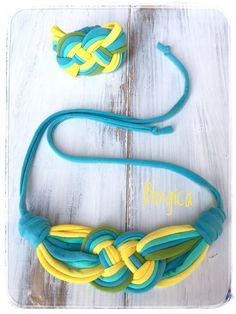 A personal favorite from my Etsy shop https://www.etsy.com/Borgica/535217168/turquoise-yellow-summer-fabric-jewelry #babyfriendly #recycled #babywearingjewellry #tshirtyarn #collar
