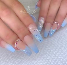 The Most Popular Nail Designs for Coffin Nails - Coffin Nails - . - the most popular nail design for coffin nails – coffin nails – - Blue Acrylic Nails, Summer Acrylic Nails, Marble Nails, Summer Nails, Blue Ombre Nails, Baby Blue Nails, Light Blue Nails, Metallic Nails, Glitter Nails