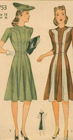 b61bbaa3b32 I know the shapes of these dresses would look brilliant on me 1940s  Dresses